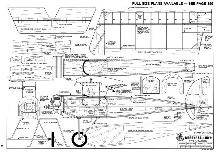 Morane Saulnier model airplane plan