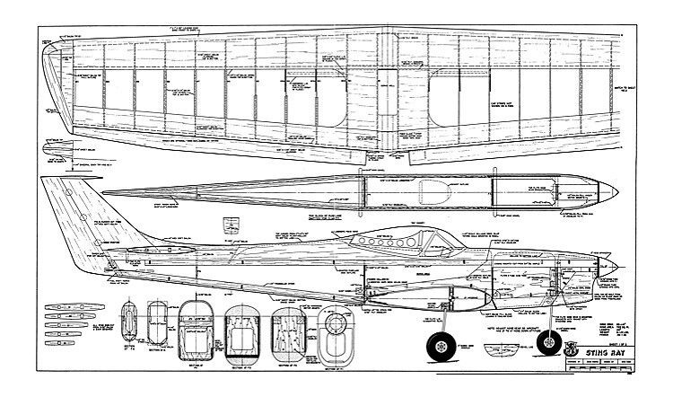 Sting Ray  (Scaled down to 63 inchs span) model airplane plan