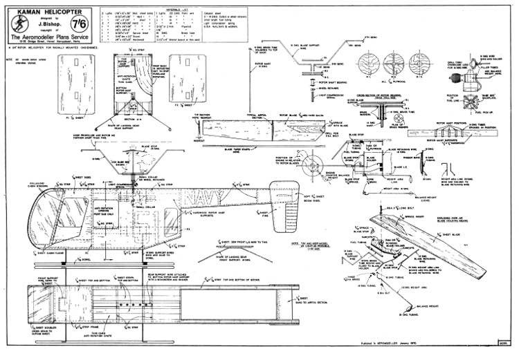 Kaman Helicopter model airplane plan