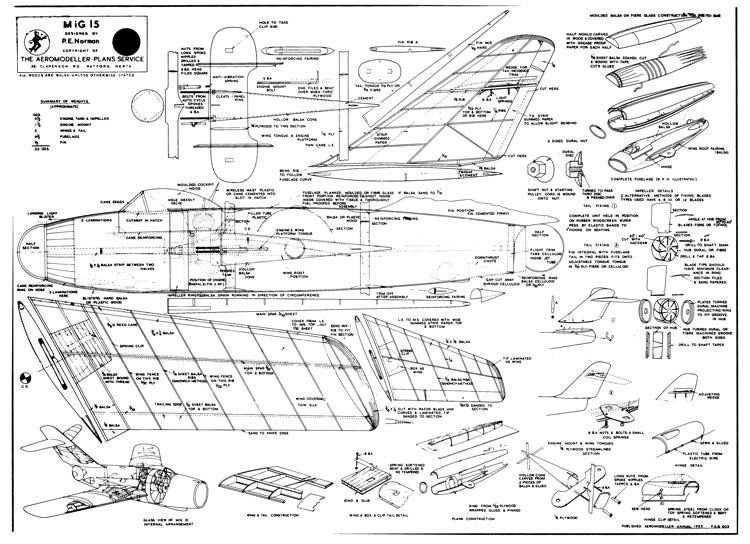 Mig 15 model airplane plan