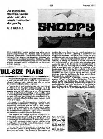 Snoopy model airplane plan