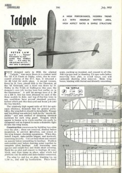 Tadpole model airplane plan