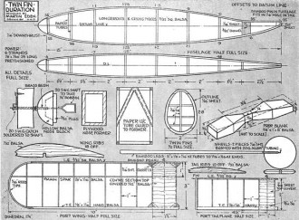 Twin Fin Duration model airplane plan