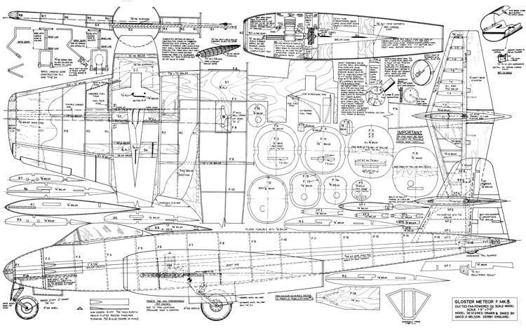 Gloster Meteor F. Mk8 model airplane plan