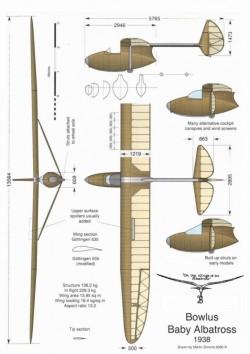Bowlus Baby Albatross model airplane plan
