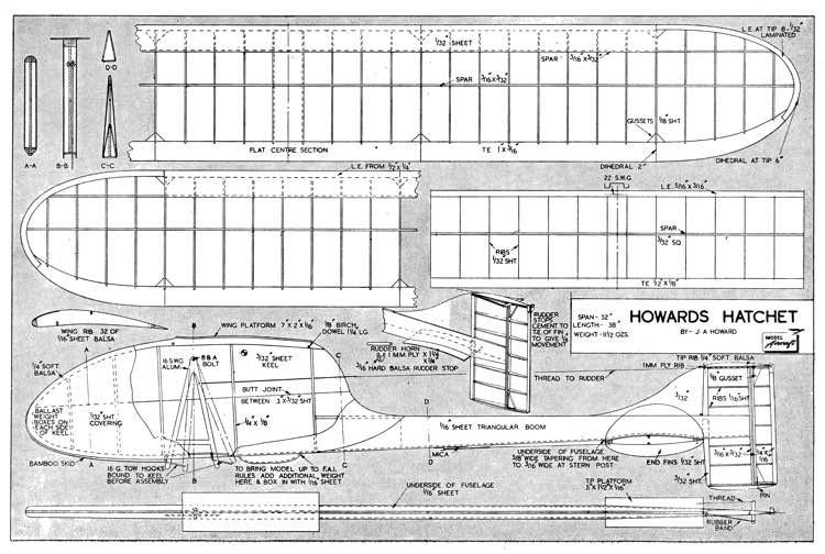 Howards Hatchet model airplane plan
