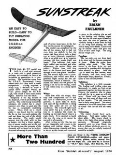 Sunstreak 36in model airplane plan