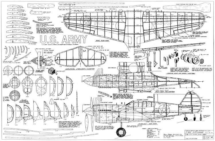Curtiss P-40e model airplane plan