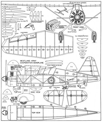 Westland Lysander 3 model airplane plan