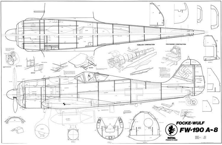 Focke Wulf FW-190 A-8 model airplane plan