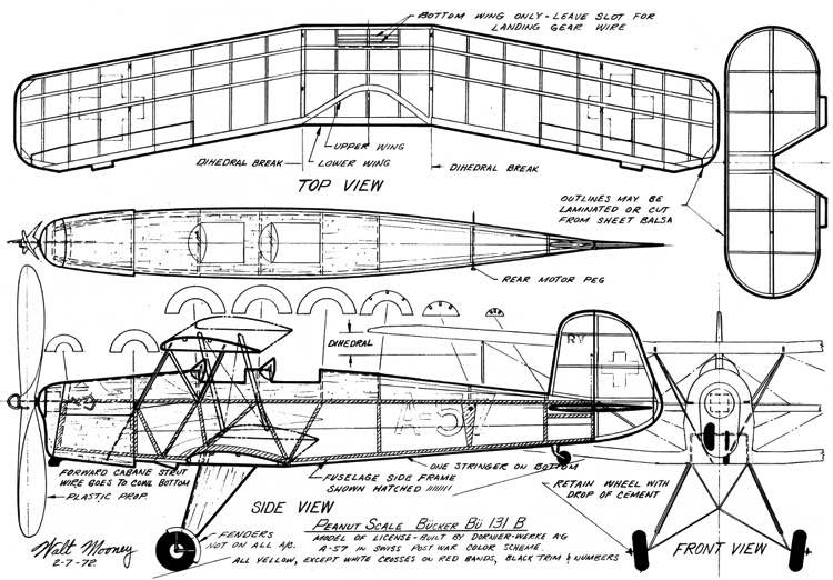 Bucker Bu-131b Jungmann model airplane plan