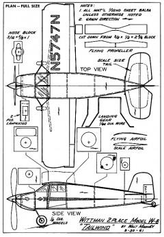 Wittman Tailwind W8 model airplane plan