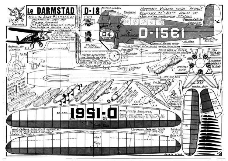 Darmstadt D-18 model airplane plan