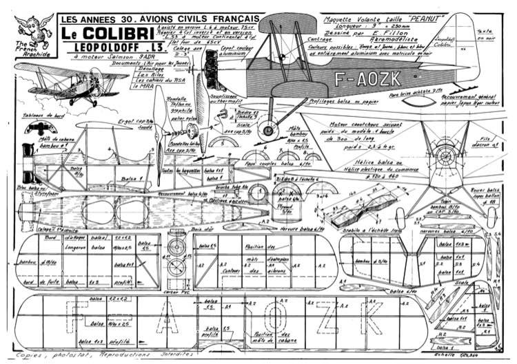Colibri model airplane plan