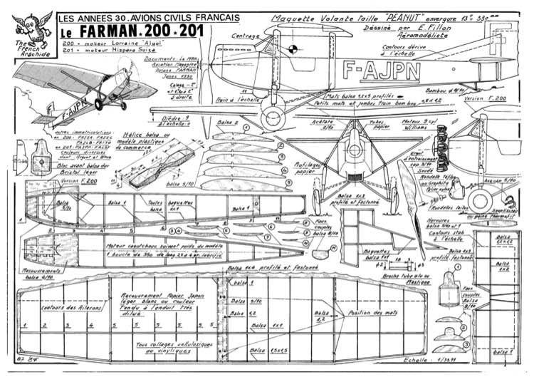 Farman 200 model airplane plan