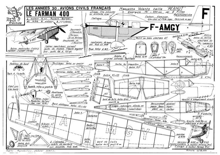 Farman 400 model airplane plan