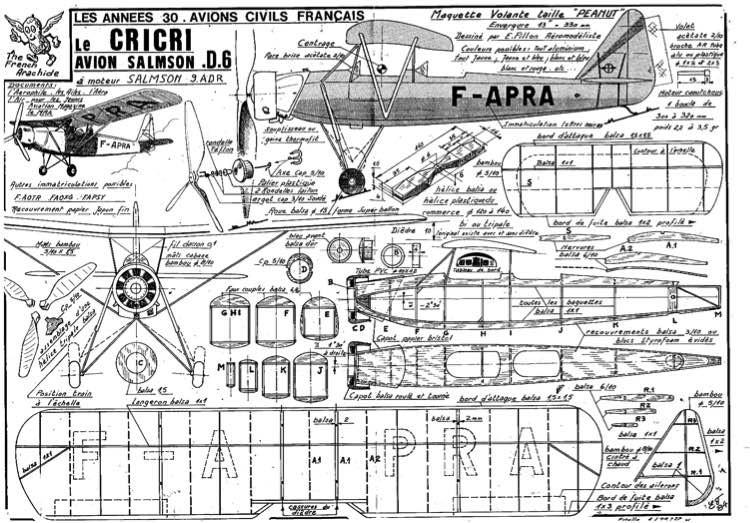 fillon CRICRI D6 model airplane plan