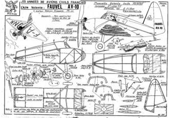 Fauvel AV 10 model airplane plan