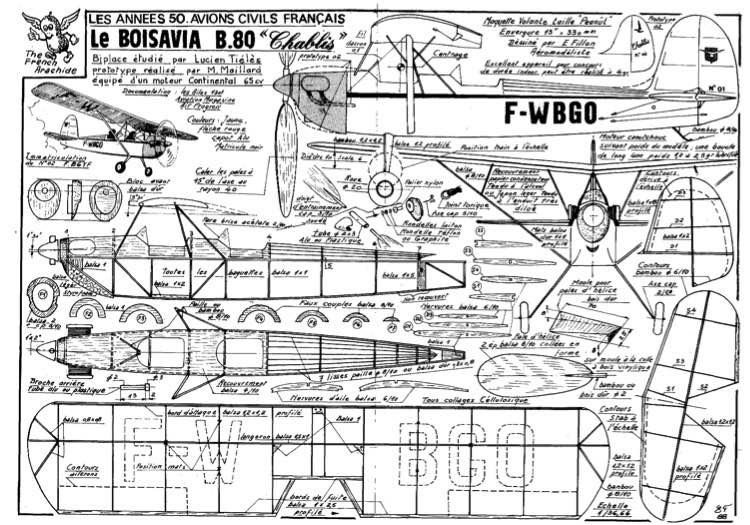 fillon LE BOISAVIA B80 model airplane plan