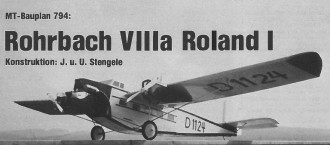 Rohrbach Roland VIII model airplane plan