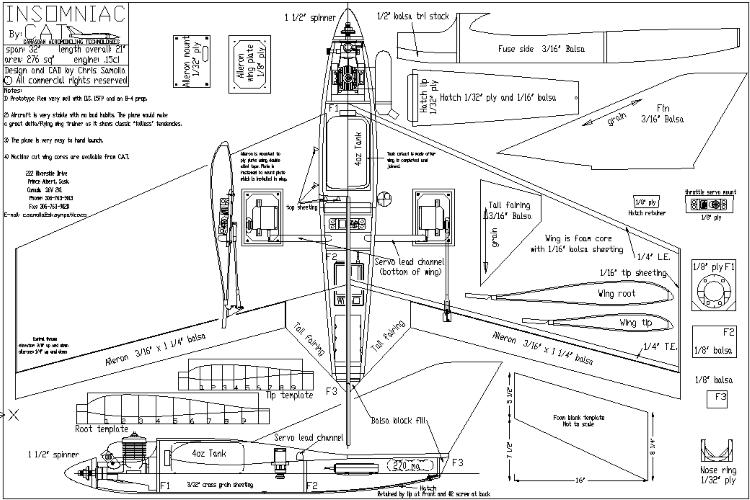 Insomniac Cat model airplane plan