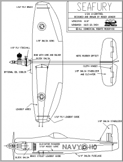 Seafury model airplane plan