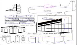 North American P51D Mustang model airplane plan