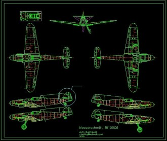Messerschmitt Bf109 G model airplane plan