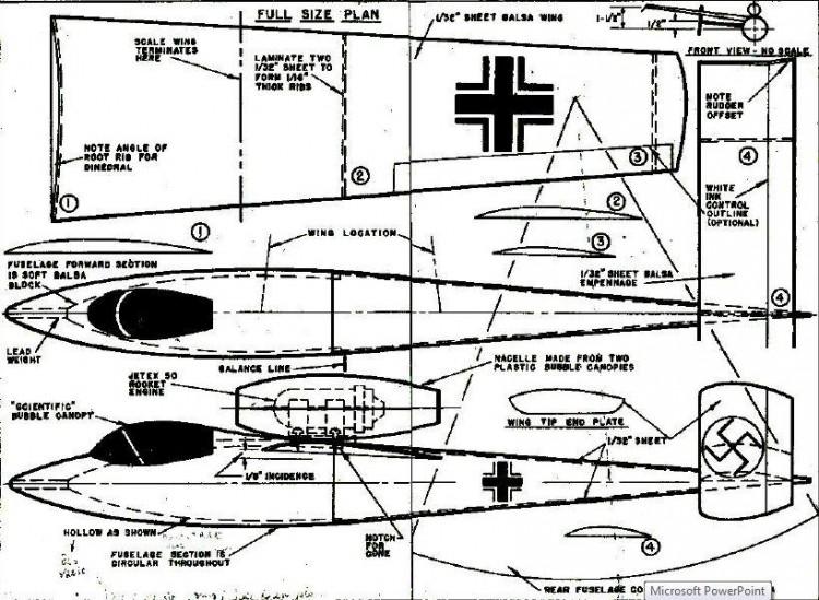 Heinkel 162 Jetex. model airplane plan