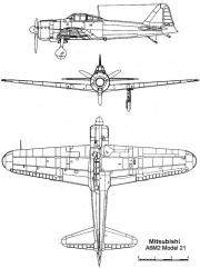 a6m2 21 3v model airplane plan