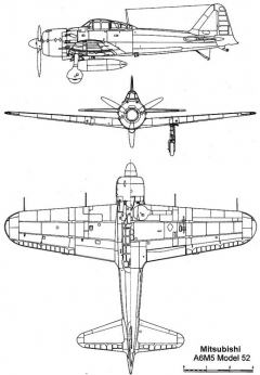 a6m5 52 3v model airplane plan