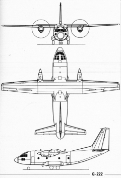 aeritalia g222 3v model airplane plan