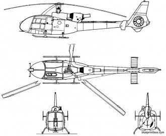 aerospatiale as 342gazelle model airplane plan