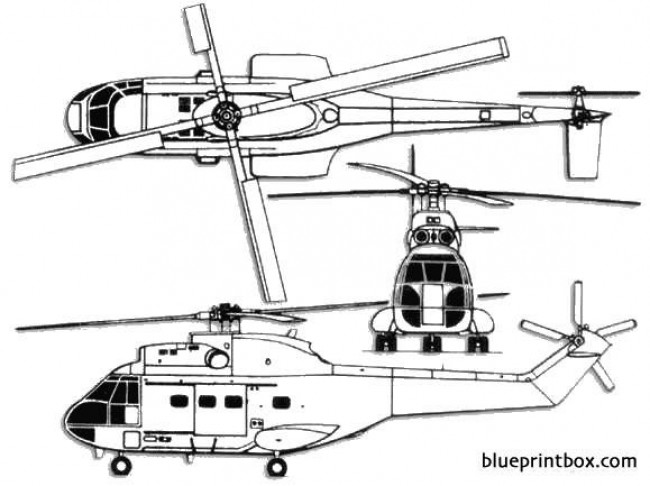 aerospatiale sa330l puma model airplane plan