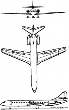 aerospatiale se 210 caravelle 1955 france model airplane plan