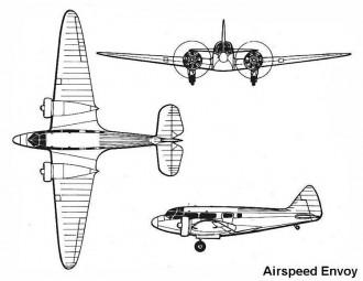 airspeed envoy 3v model airplane plan