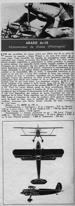 arado68 model airplane plan