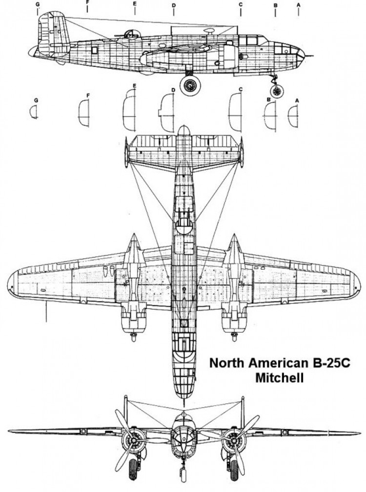 b25c 1 3v model airplane plan