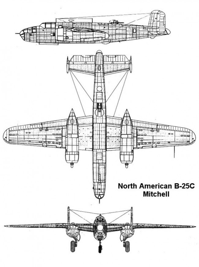 b25c 2 3v model airplane plan