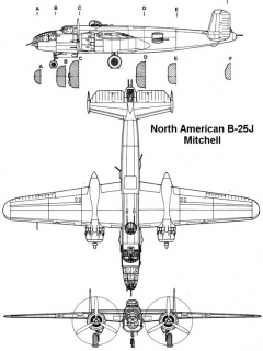 b25j 1 3v model airplane plan