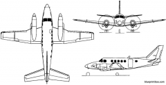 beech model 100 king air 1969 usa model airplane plan