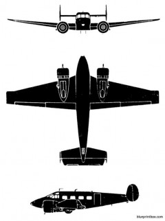 beech super 18 model airplane plan