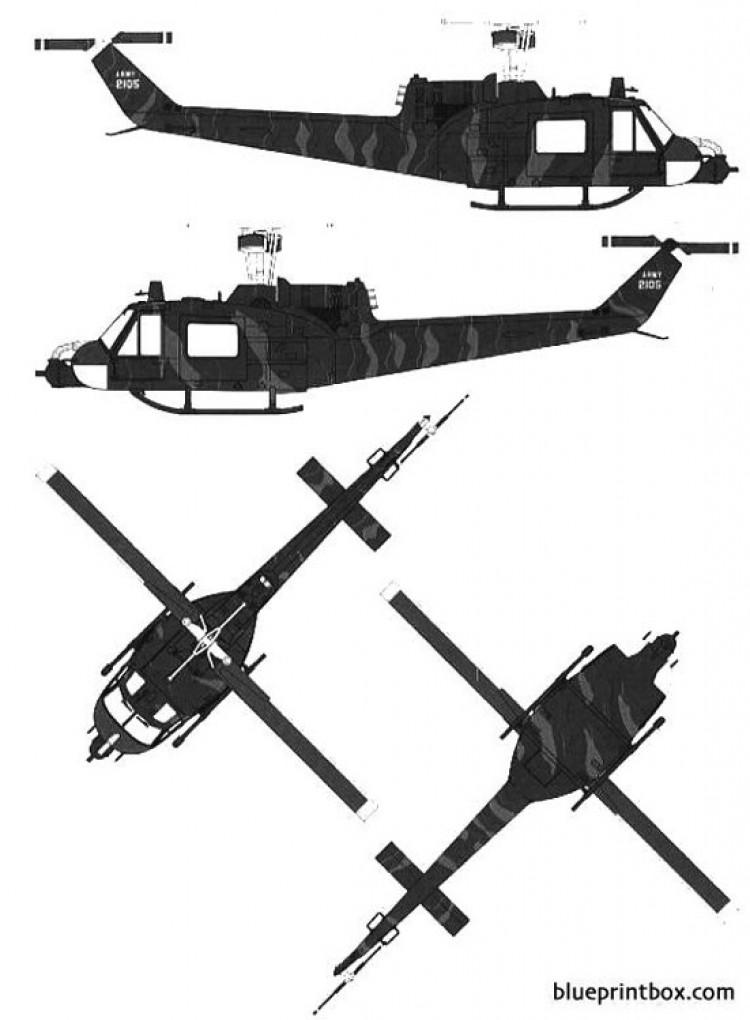 bell 204 uh 1b huey model airplane plan