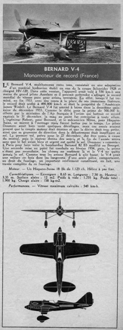 bernard v4 model airplane plan