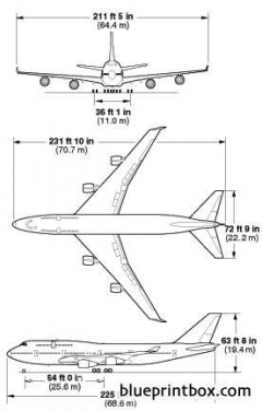boeing 747 400 1 model airplane plan