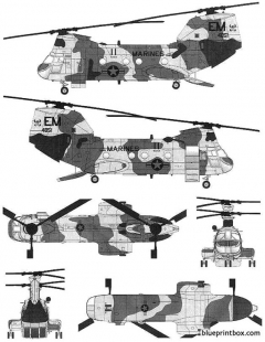 boeing vertol ch 46e seaknight model airplane plan
