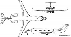 bombardier crj 200  challenger 800 1991 canada model airplane plan