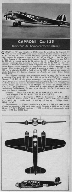 caproni ca135 model airplane plan
