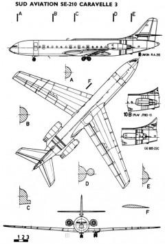 caravelle 3v model airplane plan