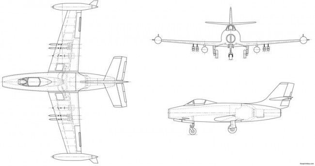 dassault md 450 ouragan model airplane plan